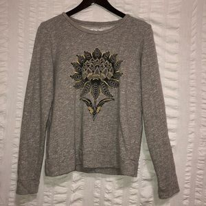 Lucky Brand Graphic Embroidered Lotus Sweatshirt
